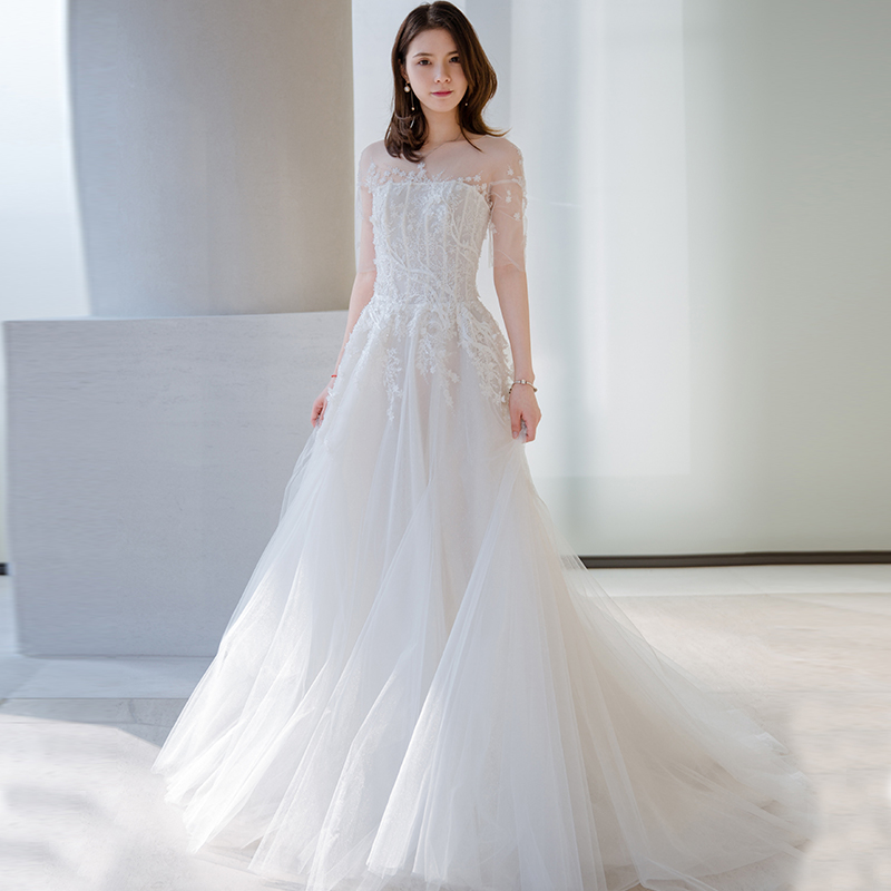 4c7437ed803 Wedding dress 2019 new bride married Korean Sen Department of simple word  shoulder pregnant women large size small tail wedding