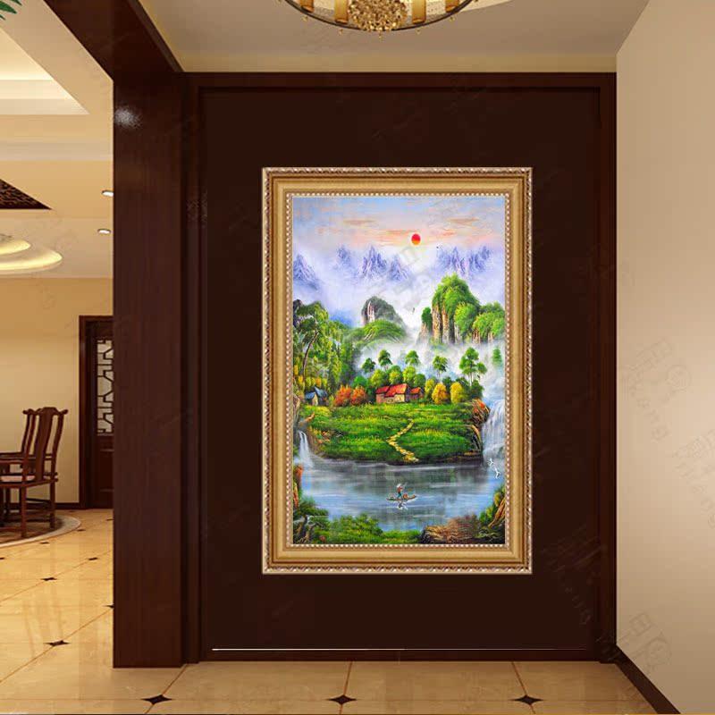 日康 聚宝盆风景油画 纯手绘山水壁画走廊过道挂画 玄关装饰画