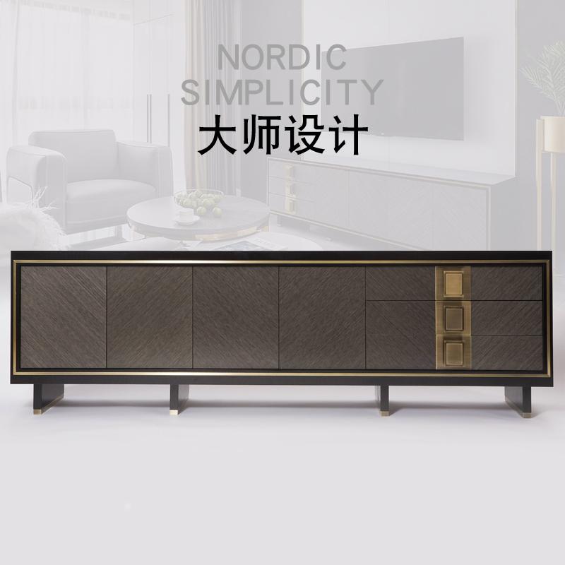 简约后现代轻奢电视柜港式不锈钢客厅电视柜茶几组合小户型定制