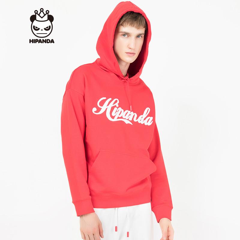 HIPANDA 你好熊猫 设计潮牌 新品 男款 可乐字体连帽卫衣