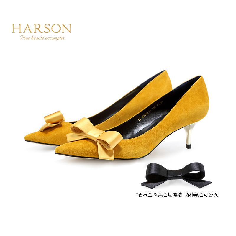 哈森 2018春季新品纯色羊皮蝴蝶结可替换浅口时尚低跟单鞋HS86401