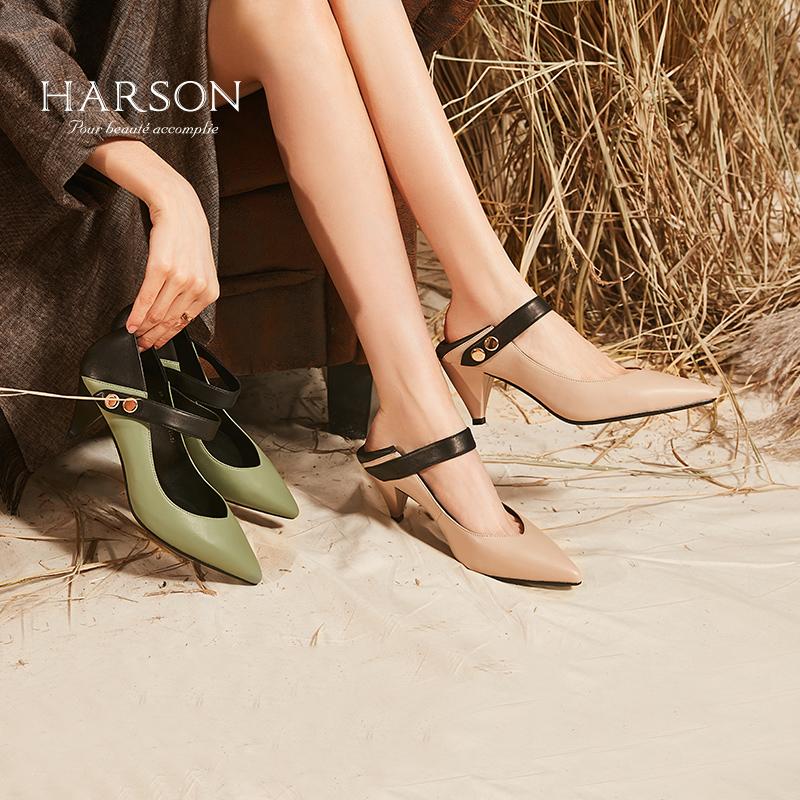 哈森 2018秋季新款通勤羊皮浅口粗跟女鞋 锥形跟高跟单鞋HL86015