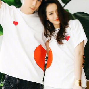 【女装】执与 不一样的情侣装夏装戚薇爱心短袖T恤气质qlz半袖ins超火同款