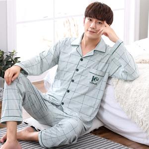 睡衣男士纯棉长袖春秋季全棉男式套装中年爸爸秋冬款中老年家居服