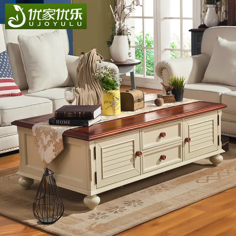 美式乡村做旧实木茶几地中海大户型客厅家具1.4米带抽屉复古白色
