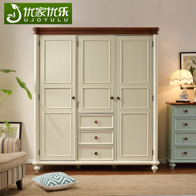 美式衣柜白色乡村田园实木地中海北欧复古整体三门开门衣橱储物柜