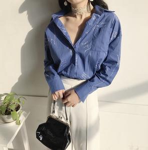 3092#实拍 翻领单排扣竖条纹宽松衬衫 实价