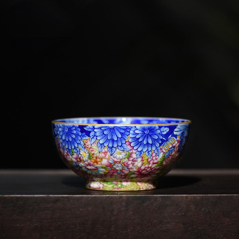 景君 景德镇陶瓷器 手绘珐琅彩内青花全手工品茗杯 茶杯主人杯