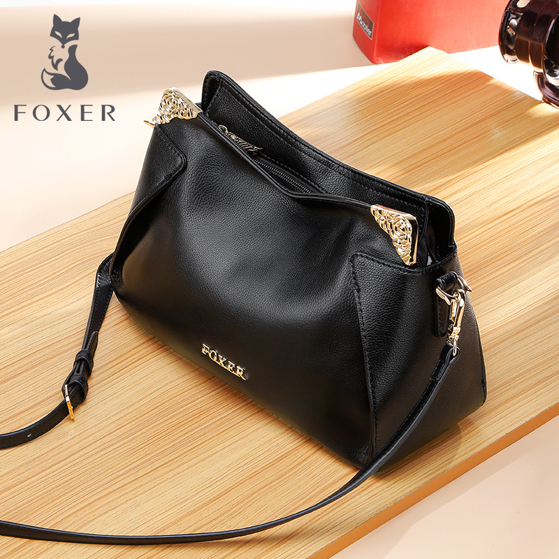 Golden Fox Large capacity Leather women's bag 2019 new female middle-aged mother soft leather head cowhide shoulder crossbody bag