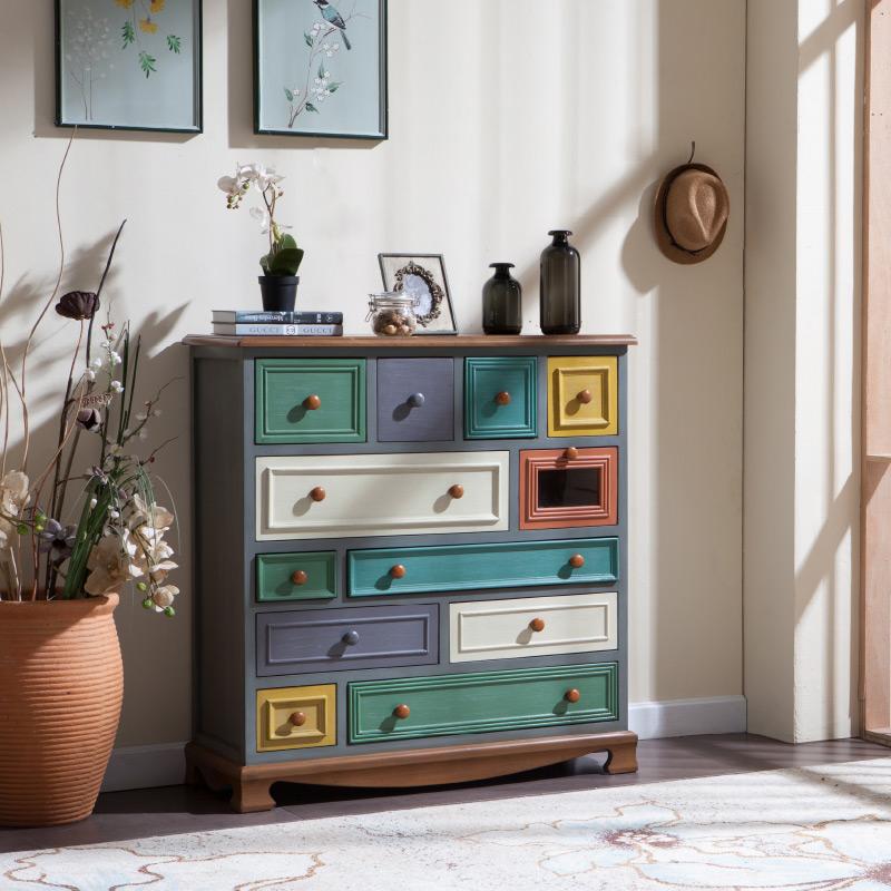 美式乡村斗柜简约现代客厅储物柜实木复古玄关柜地中海收纳五斗柜