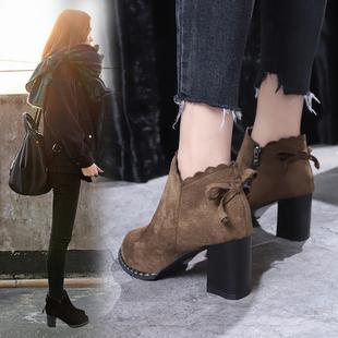 马丁靴女秋冬季2019新款英伦风蝴蝶结粗跟短靴高跟女鞋尖头女靴子