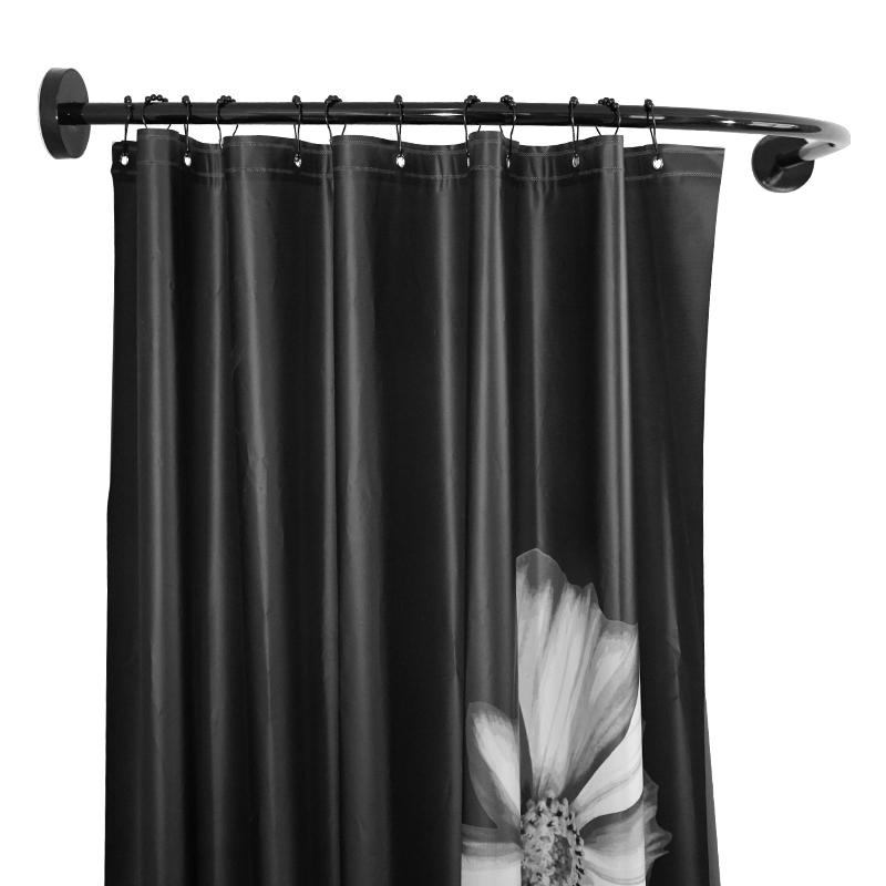 奥氏免打孔弧形l型浴帘杆黑色不锈钢浴室淋浴房浴帘架卫生间挂杆