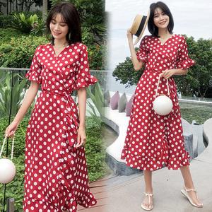 8803# 实拍法式复古红色波点连衣裙V领绑带度假长裙 巴厘...