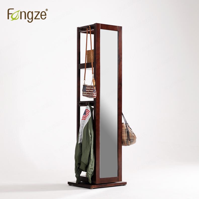 新品!Fengze北欧简约穿衣镜旋转实木全身镜落地置物试衣镜CS921