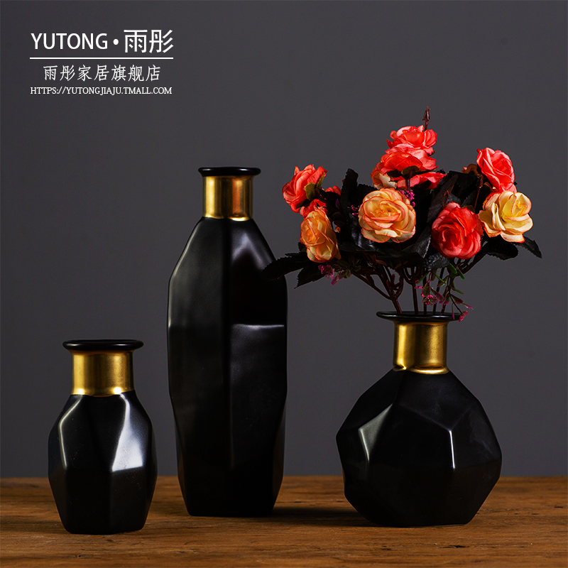 Three - dimensional geometric modelling of home furnishing articles vases, black and white and double color light key-2 luxury ceramic vase household act the role ofing is tasted suit flower arrangement