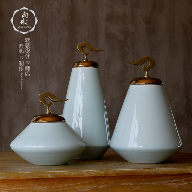 New Chinese style ceramic flower simulation flower art furnishing articles creative TV ark sky blue flower arranging device glaze porcelain decoration