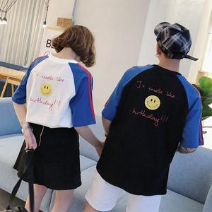 实拍1230#2018新款bf风情侣装个性印花短袖T恤宽松半...