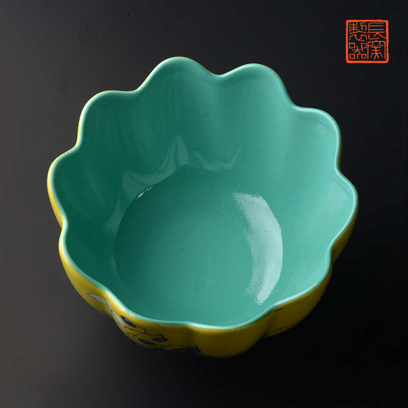 "Long up jack offered home - cooked in yellow colored enamel to corn poppy ""acknowledged flower expressions using bowl of jingdezhen ceramic bowl by hand"