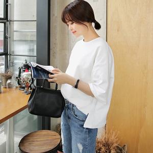 夏装纯白色韩版百搭圆领T恤女短袖宽松体恤学生bf半中袖纯棉上衣