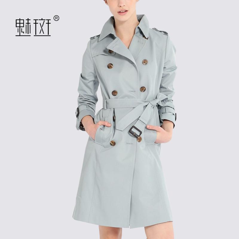 魅斑春装新款2018时尚纯色西装领双排扣风衣女中长款休闲气质外套