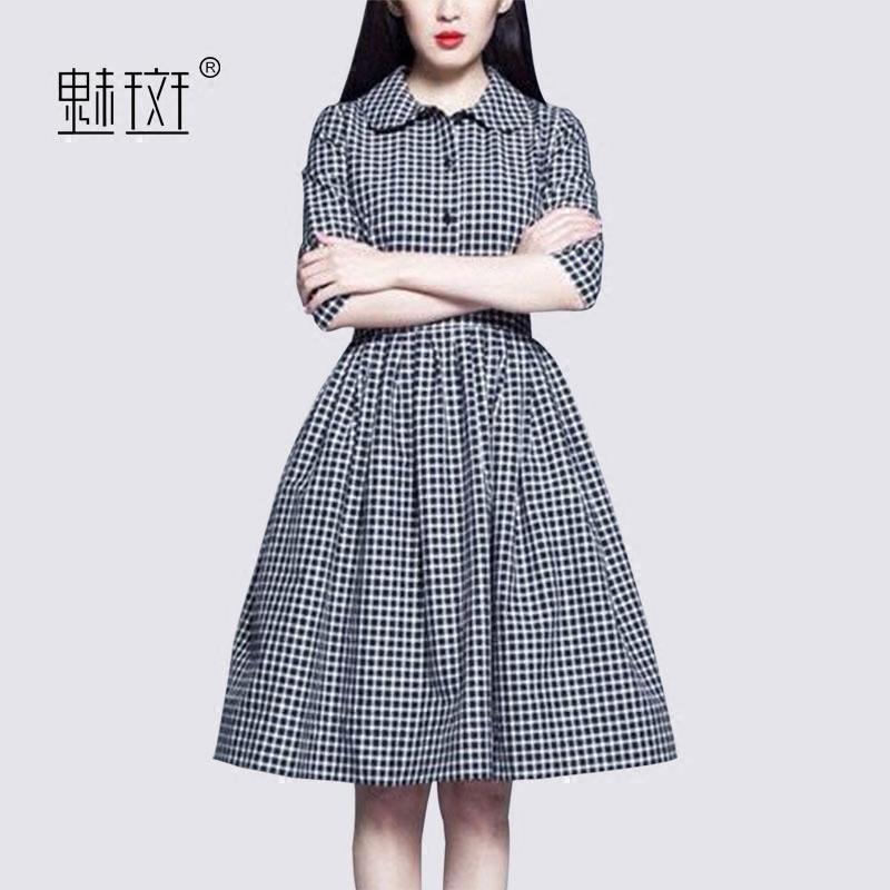 魅斑2018春装新款女装格子衬衫裙五分袖A字裙优雅气质大摆连衣裙