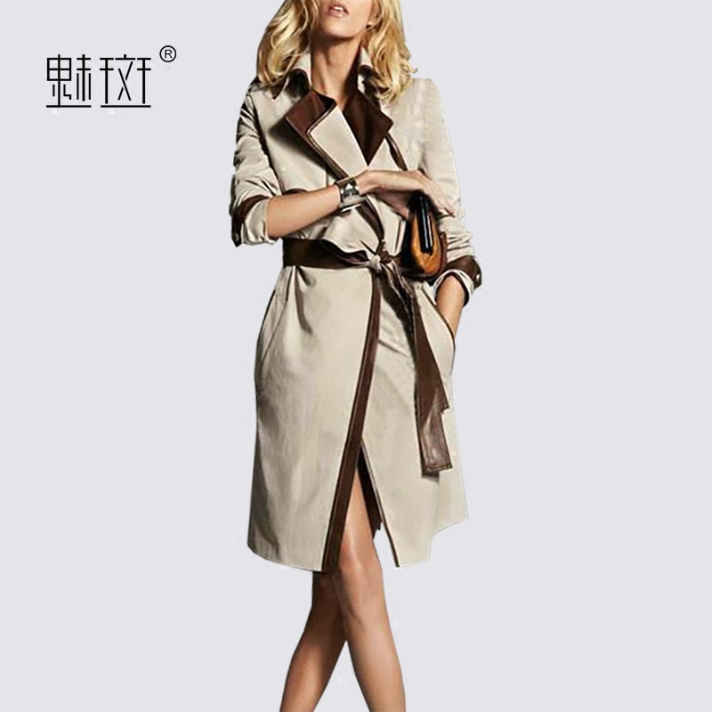 魅斑2018新款春装拼接西装领中长款风衣女宽松显瘦春季外套大衣潮