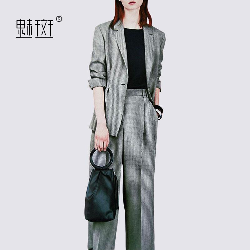 魅斑OL职业装套装一颗粒格子西装外套休闲西服西裤阔腿裤套装