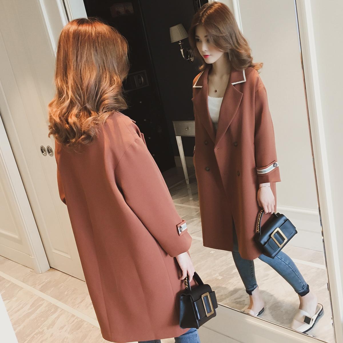 23区 2017秋季新款韩版中长款西装领过膝风衣女装长袖双排扣外套大衣潮