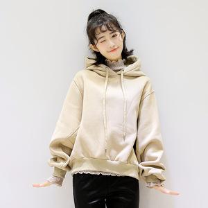 8696#秋冬季新款韩版女装宽松显瘦加绒加厚连帽泡泡袖卫衣外...