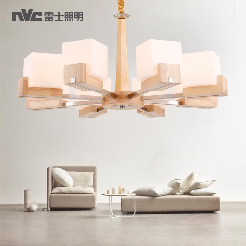 雷士照明北欧风格木艺吊灯简约LED客厅灯创意个性餐厅卧室灯灯具