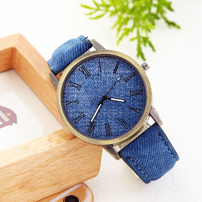 Popular simple copper students retro watch female casual denim electronic watch male micro-merchandise source on behalf of a