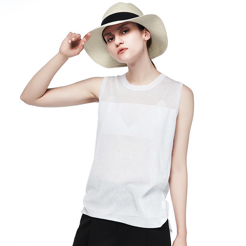 梅湾街2018夏季新款女装无袖圆领内搭背心前短后长白色针织t恤衫