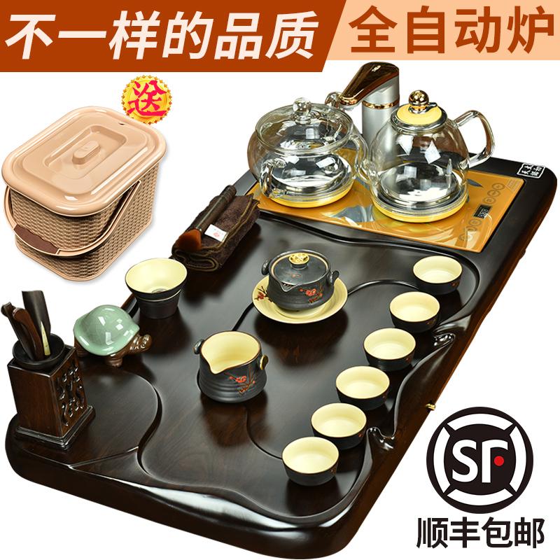 太初天诺茶具套装家用整套实木黑檀功夫紫砂汝窑四合一全自动烧水