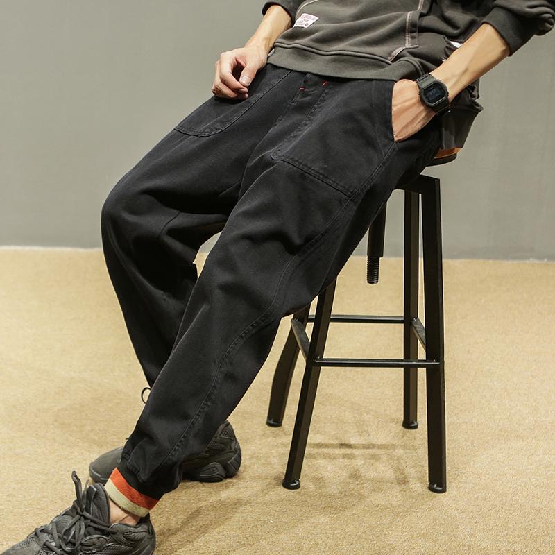 男士工装裤子秋季新款日系复古运动休闲裤潮流宽松小脚裤子男长裤