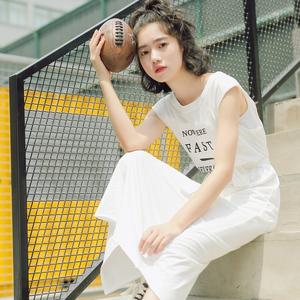 8111#实拍MGJ18年学院风夏款无袖印花长款T恤 女 现...