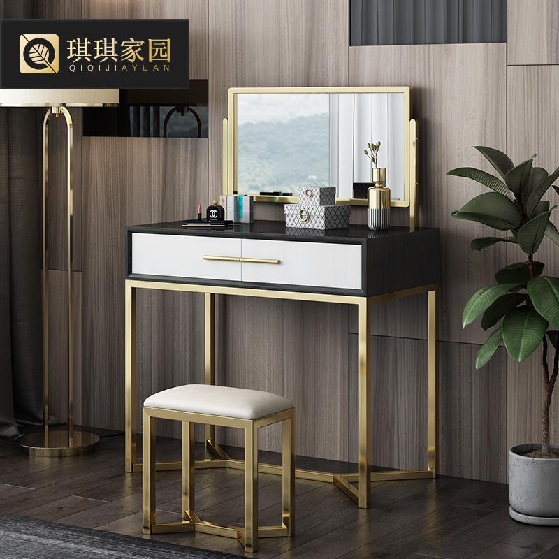 琪琪家园网红梳妆台桌卧室后现代简约轻奢镜面化妆柜子小户型ins
