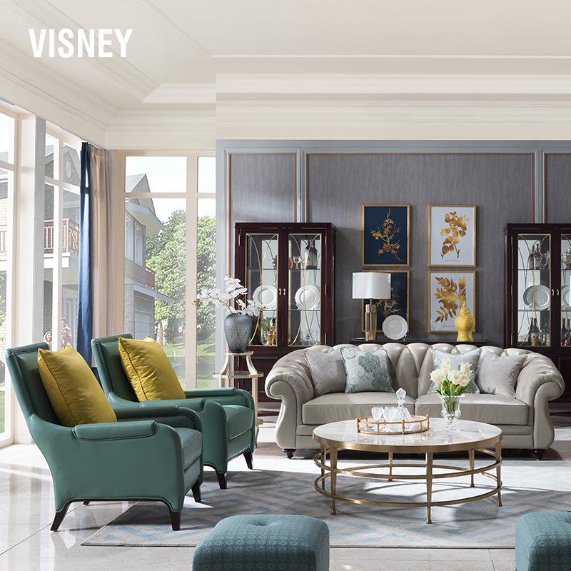 卫诗理现代美式乡村真皮实木沙发欧式轻奢简约沙发三人组合客厅Y7