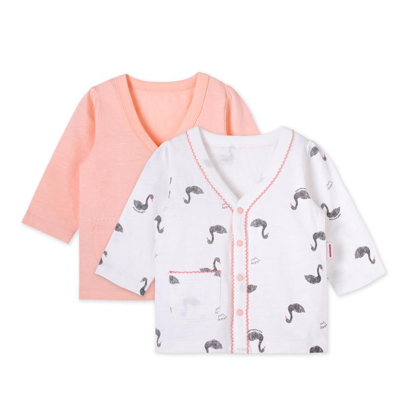 小米米minimoto男女宝宝长袖打底内衣对襟纽扣上衣