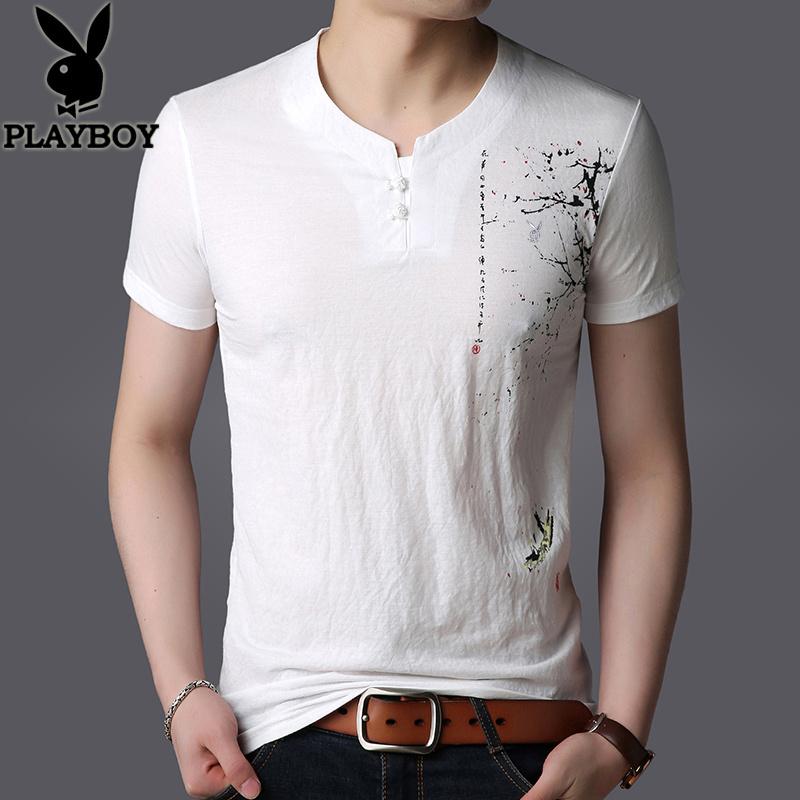 花花公子夏季男士短袖t恤男装圆领中国风印花潮流半袖棉麻上衣服