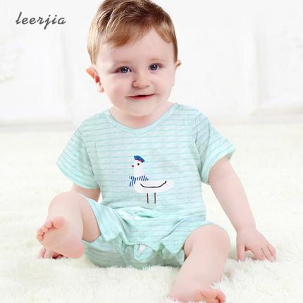 婴儿连体衣短袖新生儿衣服夏季睡衣竹纤维薄款男宝宝哈衣夏装爬服