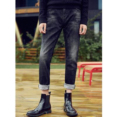 男牛仔裤长裤2018秋冬季新款韩版修身弹力男士黑色牛仔小脚裤子潮