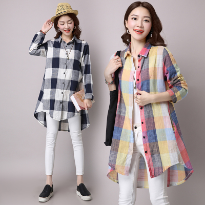 Real shot 2017 autumn new cotton and linen large size women's shirt loose large size long-sleeved linen checkered shirt