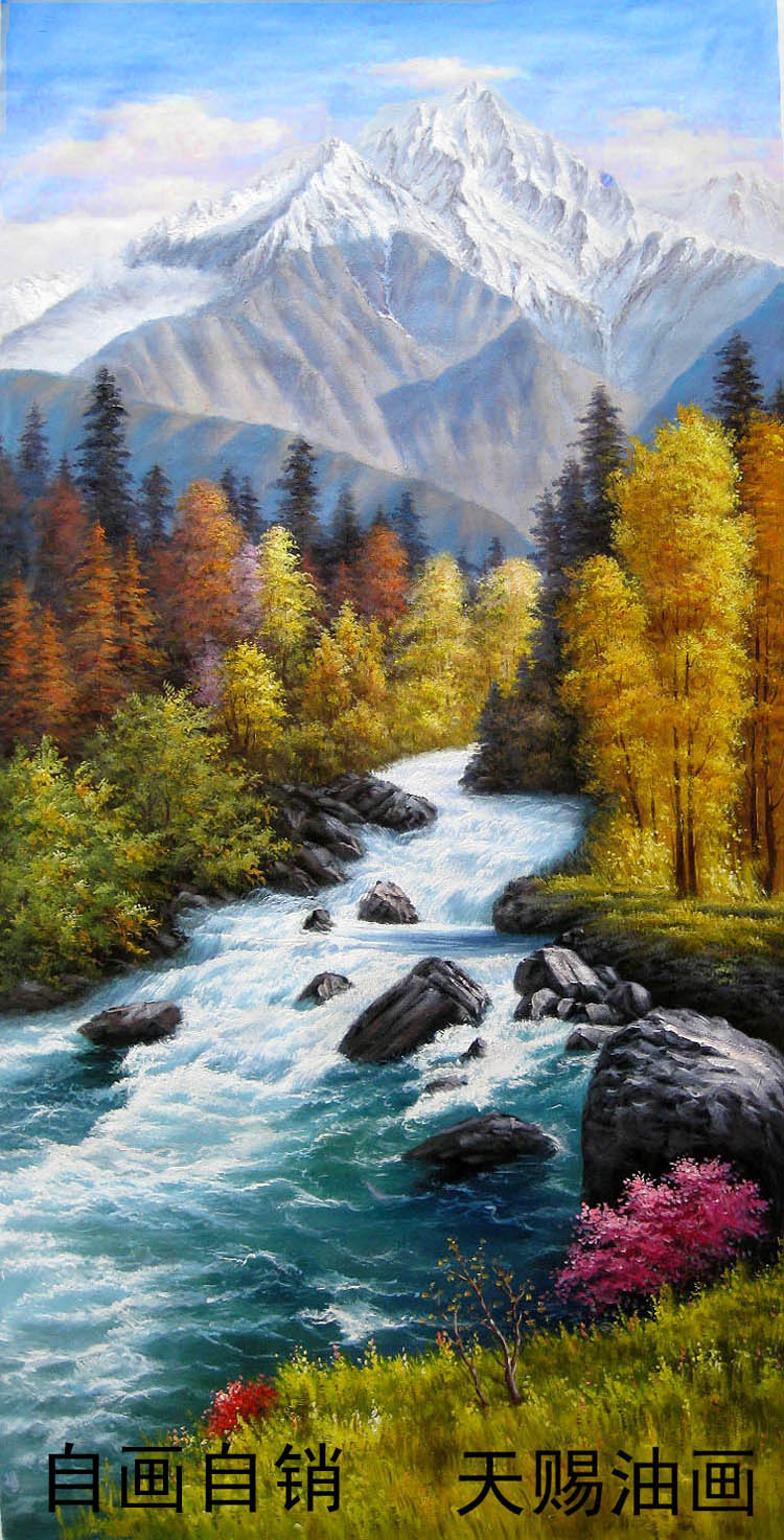 欧式山水油画客厅玄关走廊装饰画纯手绘正品风景油画聚宝盆竖幅版