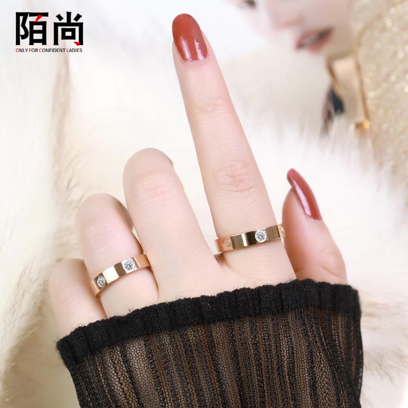 陌尚镀玫瑰金戒指女男士网红情侣日韩式轻奢指环食指潮人钛钢饰品