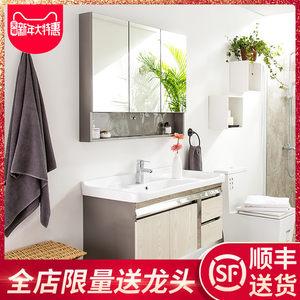 克丽菲儿卫浴柜 洗脸盆洗漱台时尚304不锈钢浴室柜组合105带镜柜