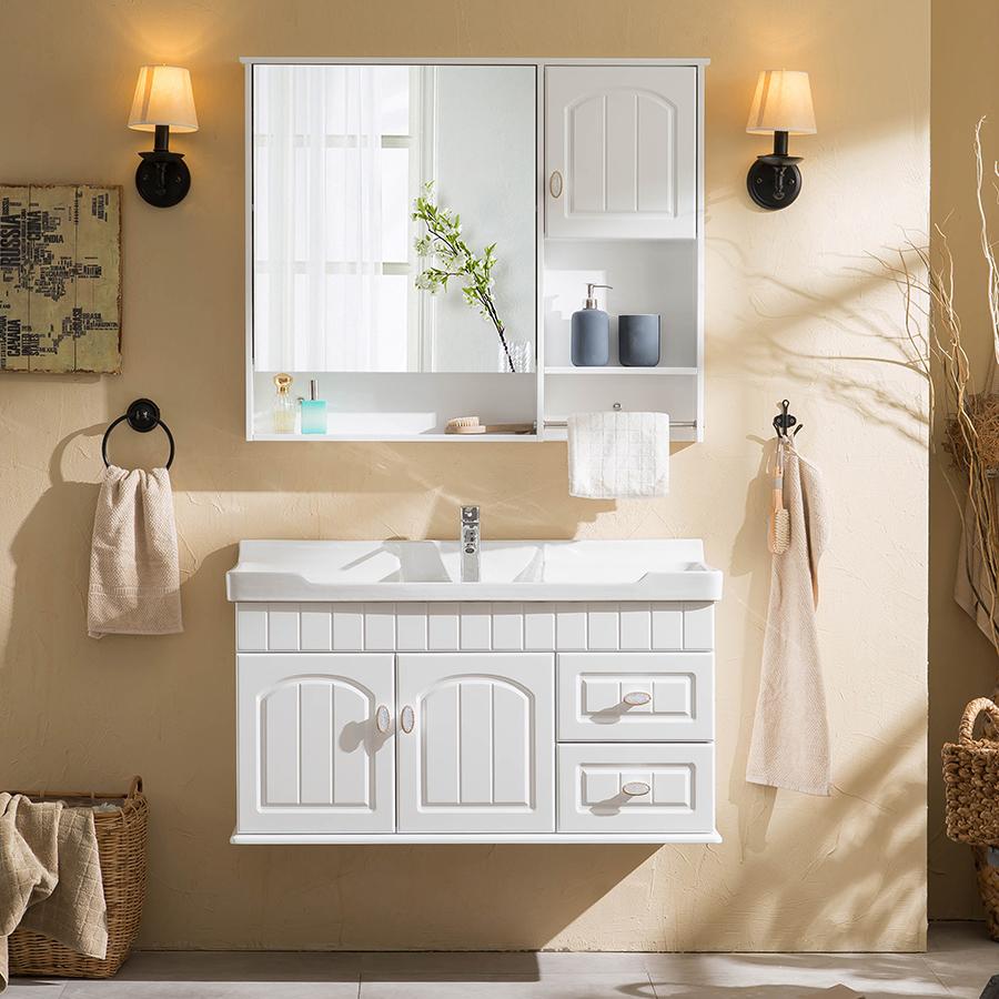 克丽菲儿橡木浴室柜组合 美式简约实木洗漱台田园卫浴柜洗脸盆柜