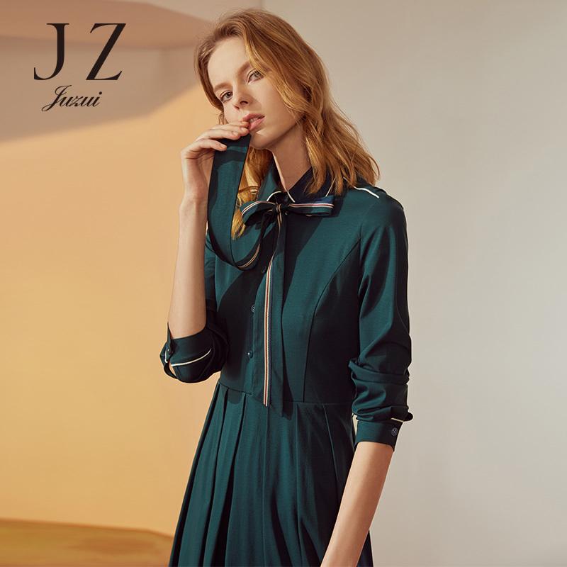 JUZUI-玖姿官方旗舰店秋装新款2018棉布睡衣风中长款衬衫连衣裙女