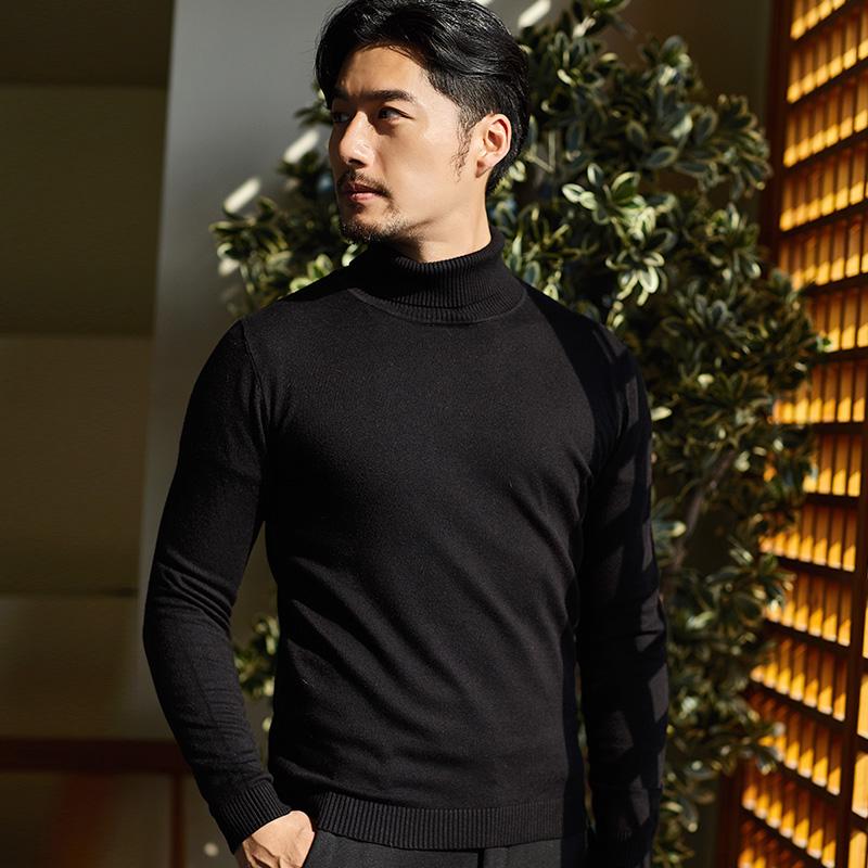 比菲力 2019秋季新款男士半高领套头针织毛衣