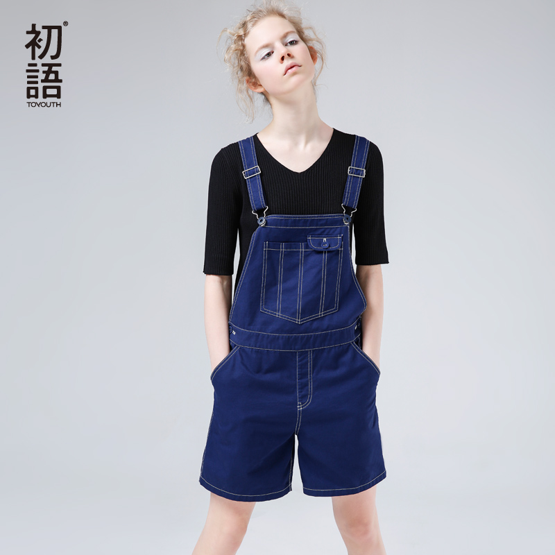 初语2018新款纯棉背带短裤夏连体裤休闲薄款宽松显瘦直筒背带裤