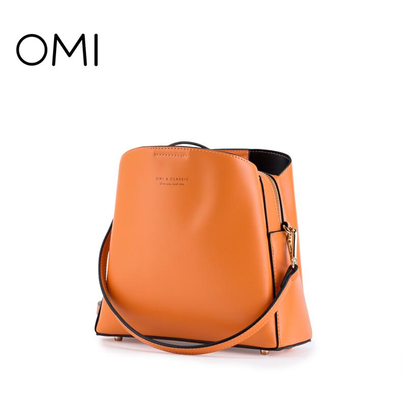 欧米OMI2018新款水桶包女双肩带包单肩包斜跨包女包油